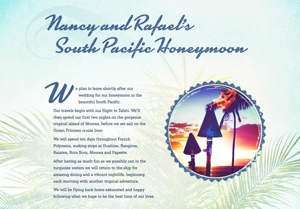 A honeymoon fund using the Aloha theme