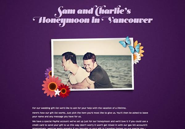 A honeymoon registry using the Flowerpower theme