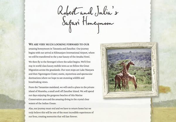 A wedding gift list using the Safari theme