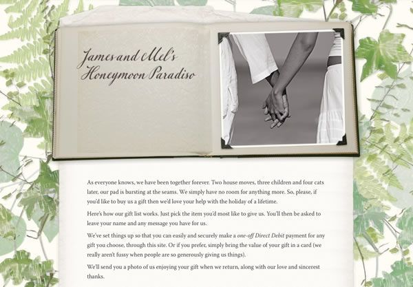A wedding gift list using the Scrapbook theme