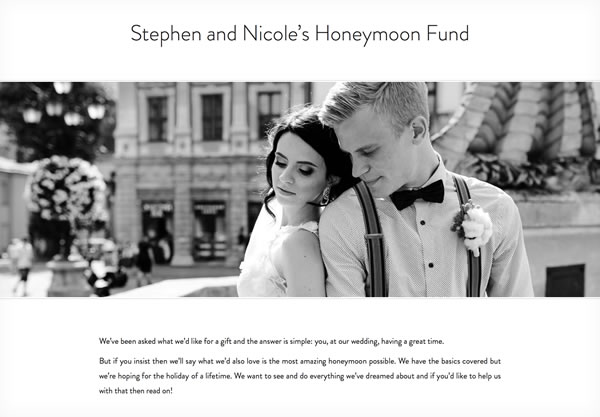 A honeymoon fund using the Simplicity theme