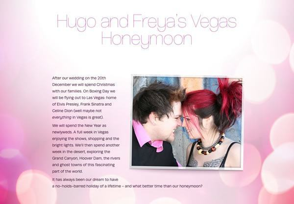 A honeymoon wish list using the Vegas Baby! theme